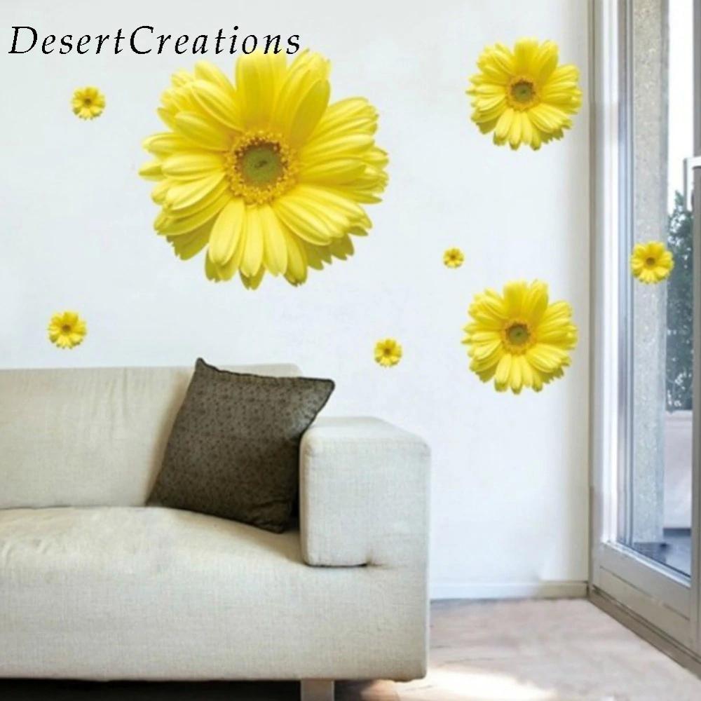 Yellow Flowers Decorative Combination Diy Wall Sticker Decor ...