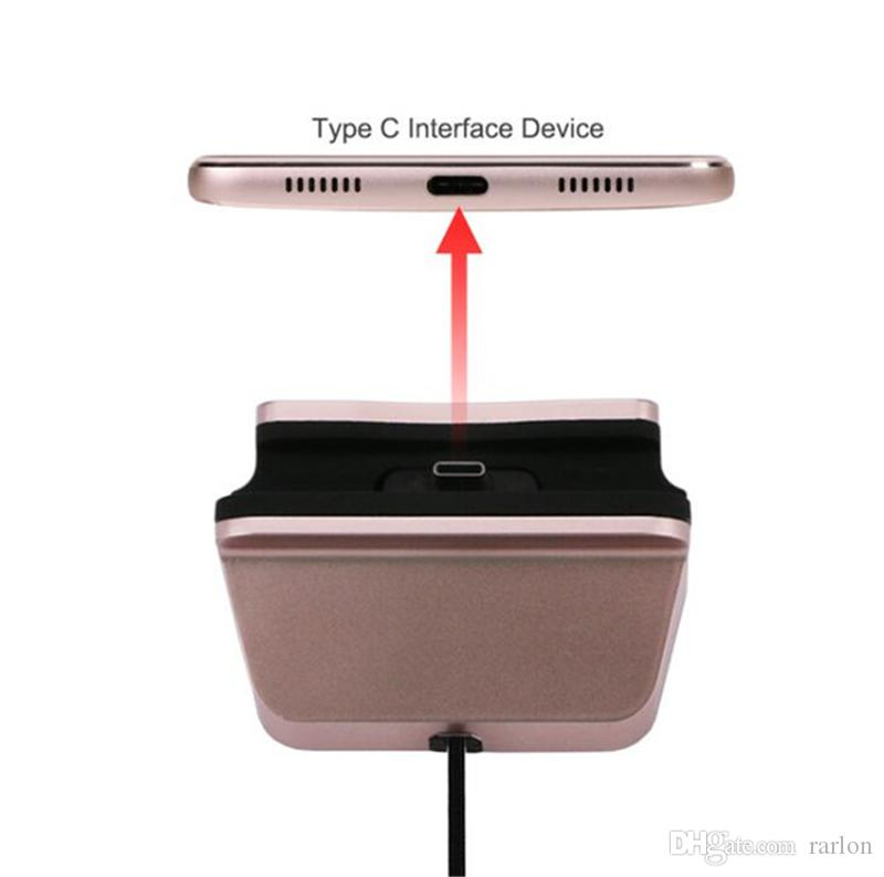 Typ-C Micro V8 Dock Ladegerät Lade Sync Desktop USB 2.0 Cradle Station für Galaxy S9 LG HTC Smartphone Mit Paket