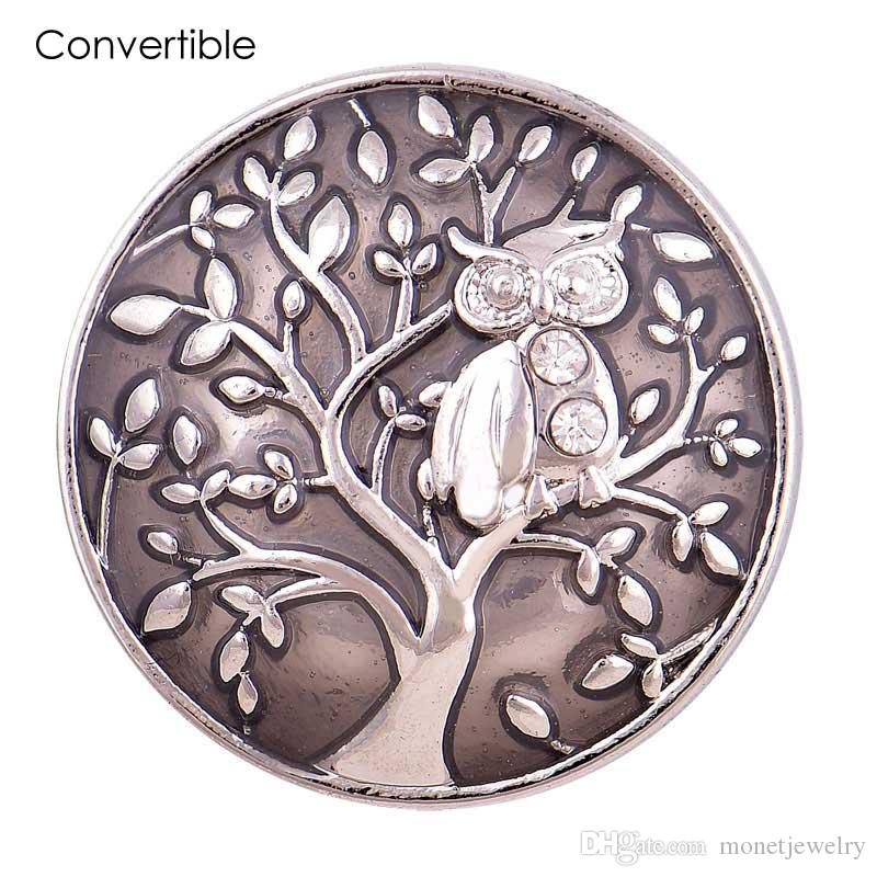 Rivca Elegant Life tree owl inserts convertible Rhinestone alloy magnetic Brooch For women fit antique Scarf Clip Vintage Muslim pin Brooch