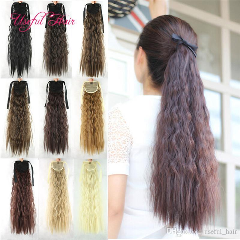 Venta al por mayor Hair Pony Tail Hairpieces Drawsting Ponytails peine cola de caballo rizado rubia extensión de pelo clip en extensiones de cabello para mujeres negras
