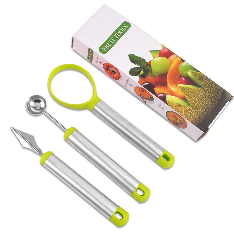 Aço inoxidável melão baller fruit carving melão colheres ballers cozinha vegetal fatiador de frutas ferramenta de escultura 3 pçs / set