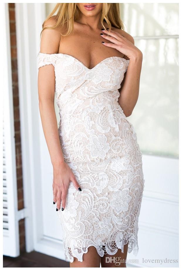 Elegante hombro blanco con raso nude barato vestidos de regreso al hogar blusa de encaje sin respaldo corto coctel vestido de noche con mangas