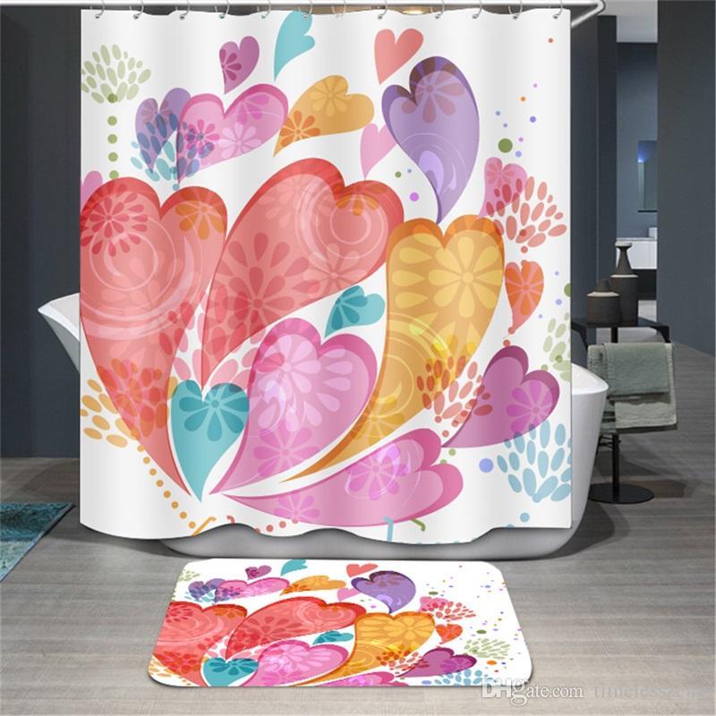 Мультфильм печатных занавески для душа 180*180 см полиэстер ванная комната занавески цветок девушка мультфильм медведь pattern водонепроницаемый ванна занавес