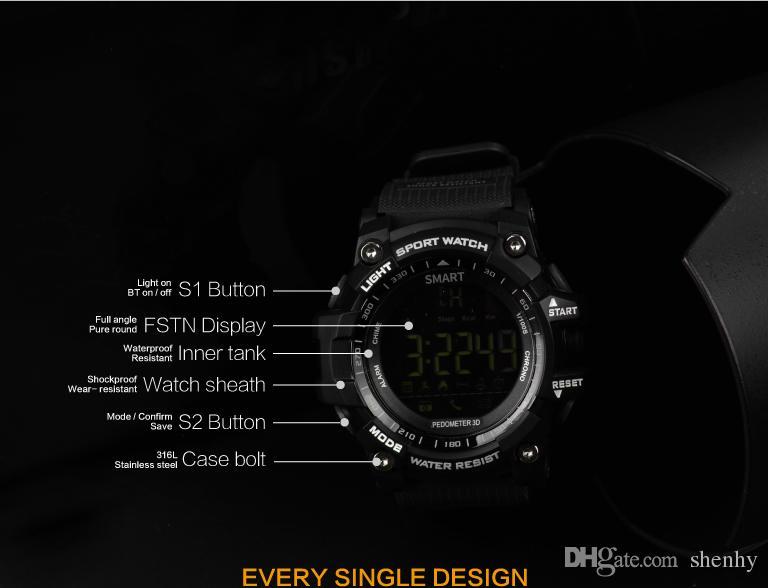 ساعة بلوتوث EX16 الإخطار ووتش الذكية التحكم عن بعد عداد الخطى الرياضة ووتش IP67 للماء ساعة اليد للرجال لفون دائرة الرقابة الداخلية الروبوت