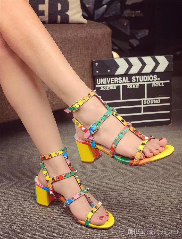 Toe 2-Strap Studs high heels Patent Leather rivets Sandals Women Studded Strappy Rainbow rivet valentine sandals. high heel Shoes