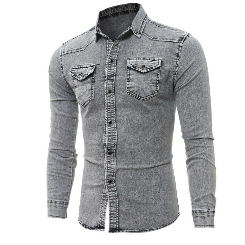f9c1caa7e16 2019 New Hot Mens Denim Shirts Long Sleeve Summer Casual Stylish Wash Slim  Fit Denim Shirts Vintage From Yujiu