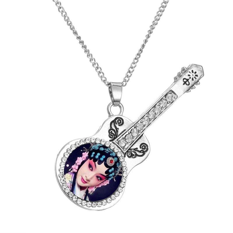 dye sublimation necklaces pendants fashion high quality guitar necklace pendant for women zircon jewelry heat transfer diy blank consumables