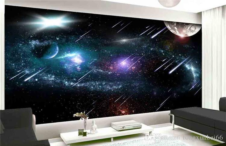 Custom wallpaper 3D, Meteor sky universe earth space outside the galaxy wishing TV setting wall wallpaper
