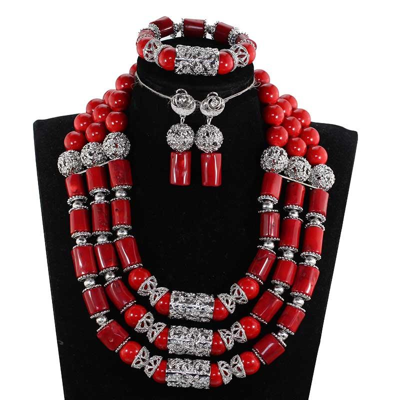 Chunky Wine Red African Coral Beads Bridal Jewelry Set Silver Indian Wedding Jewelry Set for Women Costume Jewelry Gift CNR860
