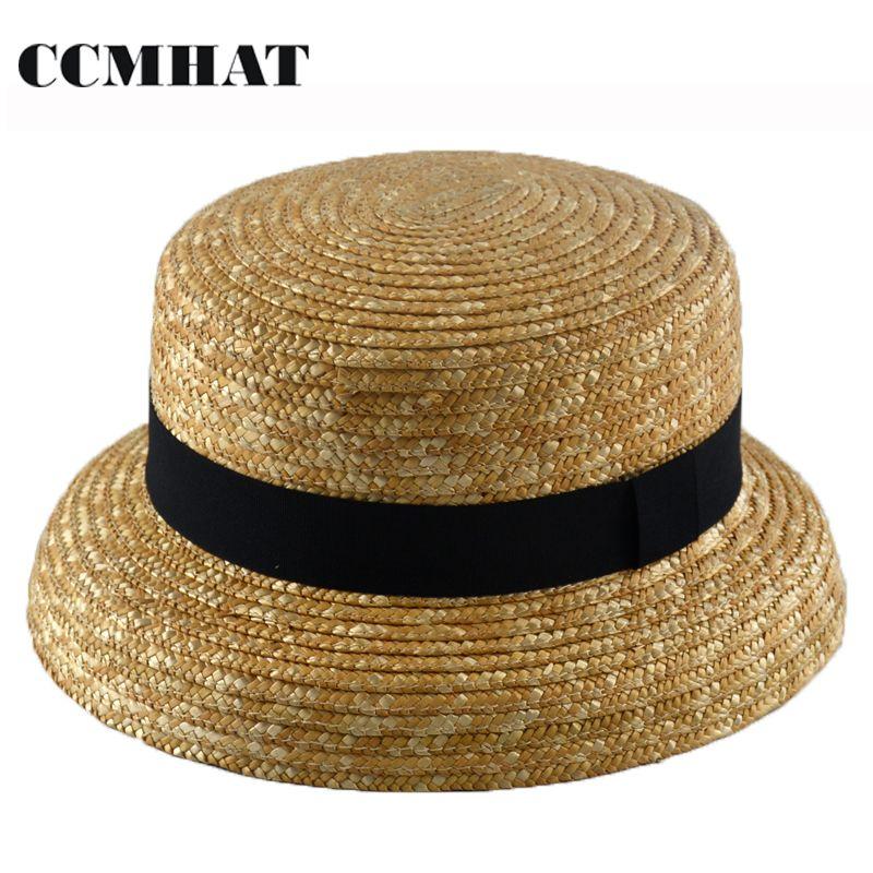2888c348d9c7f Compre Sombrero De Paja De Trigo De Ala Ancha Para Mujer Verano Para Mujer  Panamá Playa Sombrero Para El Sol Boater Trigo Chapeu Feminino Para Mujer  Gorras ...