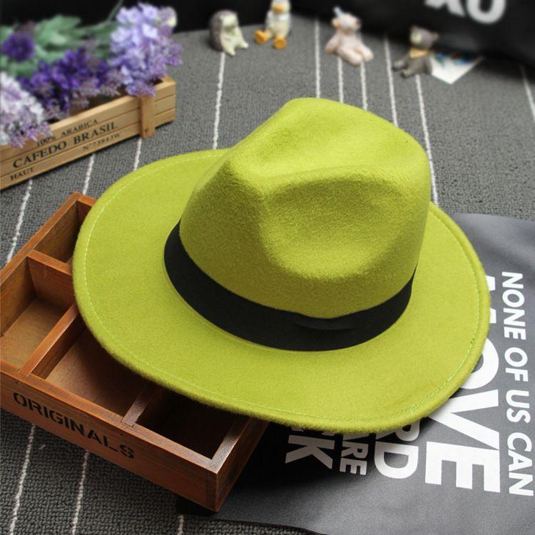 New Fashion Retro Felt cappello jazz TOP cappelli uomo donna Elegante Solid feltro Fedora Hat Band Wide Flat Brim Jazz Cappelli Panama Caps