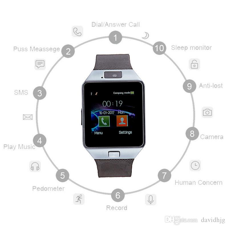 Latest DZ09 Bluetooth Smart Watch Support SIM Card For Apple Samsung IOS Android Cell phone 1.56 inch Free DHL smartwatches