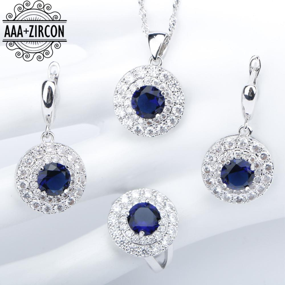 Blue Zircon 925 Silver Costume Wedding Jewelry Sets Women