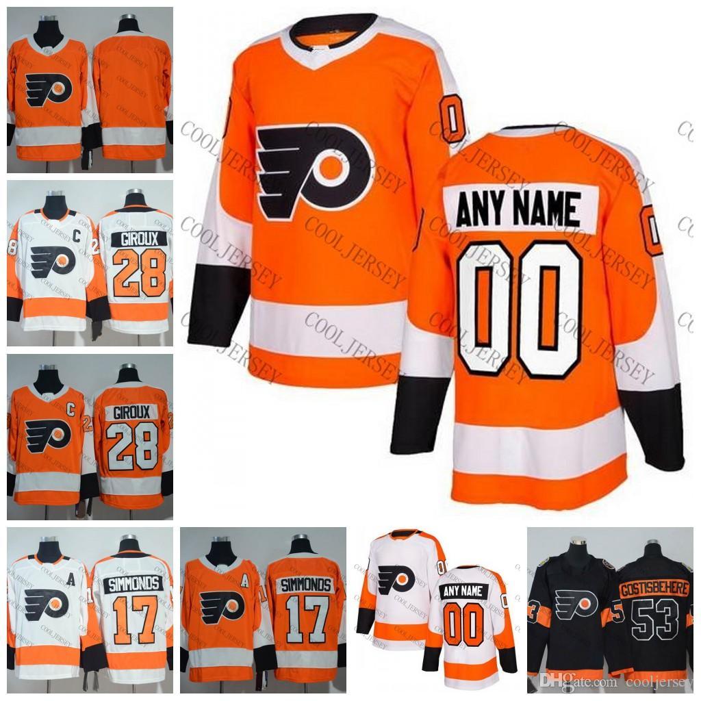 441c8d3736c 2019 2018 New AD Custom Philadelphia Flyers Hockey Any Number Name  Customized Orange Home White Patrick Giroux 88 Lindros Jerseys Stitched S  60 From ...