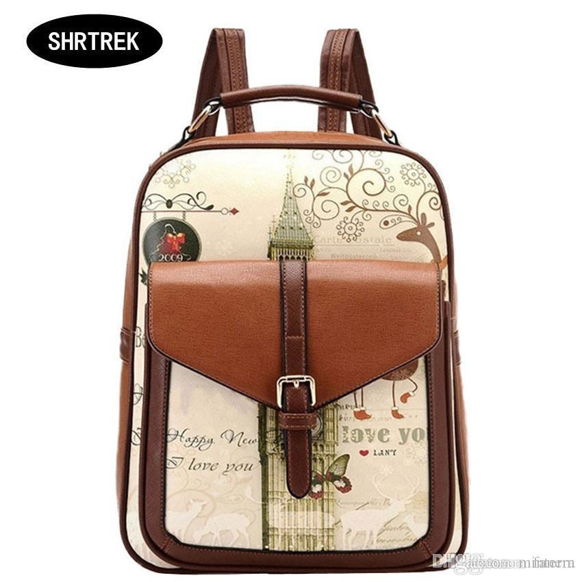 6c059d2735 Wholesale SHRTREK Hot Sell Printing Backpack For Girls PU Leather Female  Backpacks Preppy Style Backpack Women School Bags Dog Backpack Backpacks  For Women ...