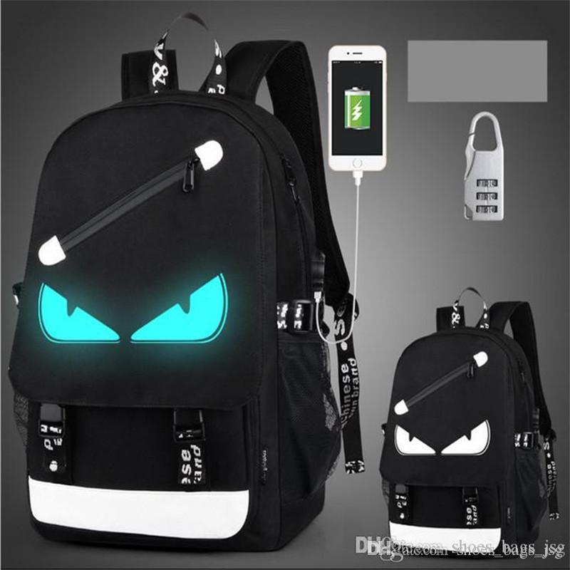 fashion USB Charge Luminous backpack men studends bags 9 color travel bag Computer backpack Large capacity shoulder bag send anti-theft lock