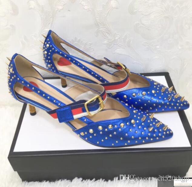 fe27a8b32f402b Elegant Women Dress Shoes Kitten Heels 2018 Stylish New Style Rivet ...