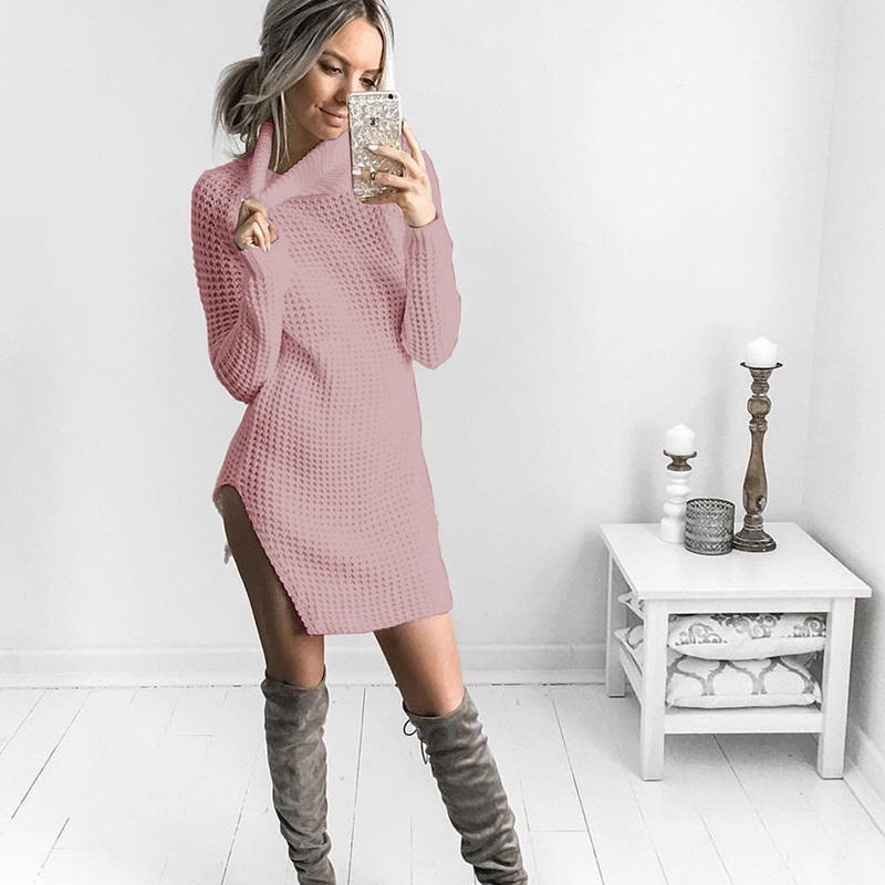 66311ebe484 Women Turtleneck Long Slit Knitted Long Sleeve Sweater Pullovers for Female  Women 2018 Autumn New Sweaters Pullovers Online with  36.39 Piece on  Mobile09 s ...