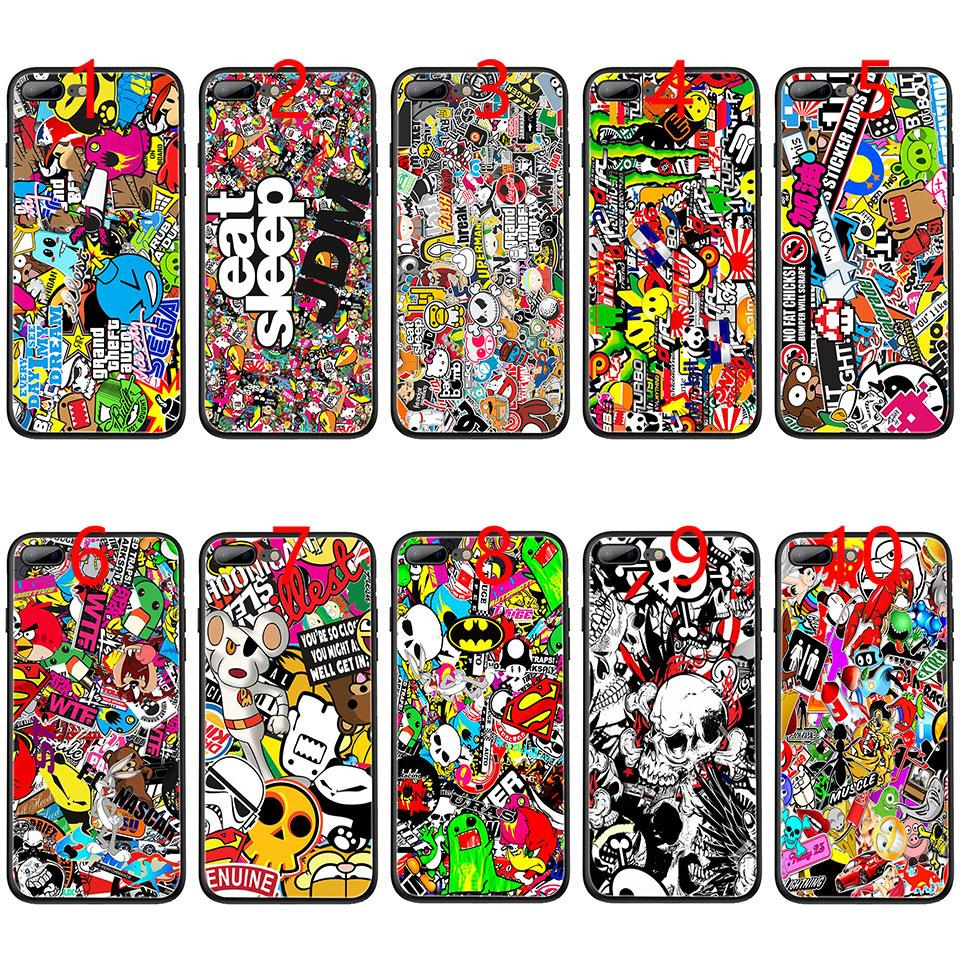 Bomb stickers jmd soft black tpu phone case for iphone xs max xr 6 6s 7 8 plus 5 5s se cover heavy duty cell phone cases spigen cell phone cases from e emal