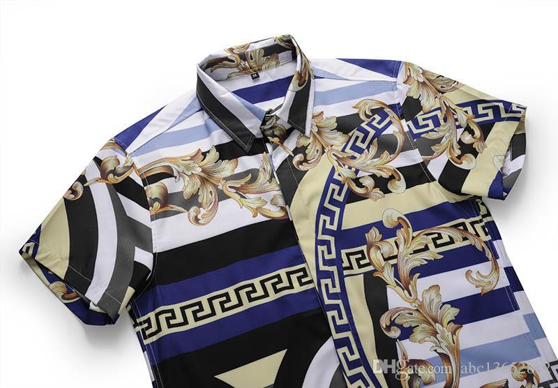 2018 Mode Automne des hommes imprimé floral vague mélange couleur overhe luxe décontracté chemises Harajuku chemises longues Medusa hommes de patchwork manches