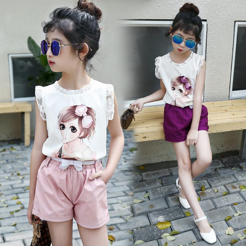 691b146c881b 2019 Teenager Girls Lace Sleeveless T Shirt + Shorts 2018 Summer Children  Clothing Sets Baby Girls Clothes 5 13 Years Old Y1892807 From Shenping01