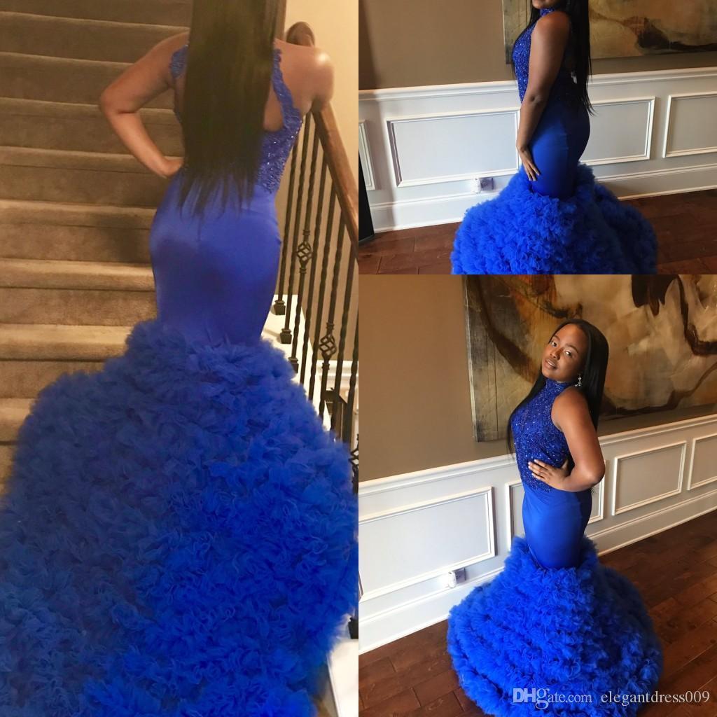 2018 Royal Blue Beaded Mermaid Vestidos de baile Jewel Neck Tiered Tul Lentejuelas Apliques Sweep Train Floor Length Celebrity Vestidos de fiesta de noche