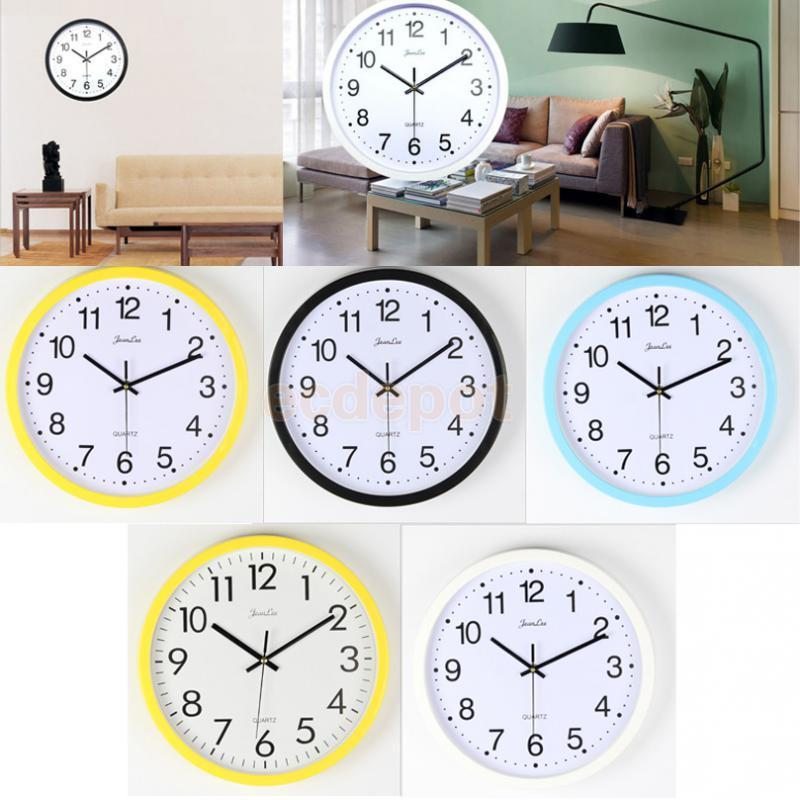 Round Wall Clocks For Home Dining Room Kitchen Quartz Battery