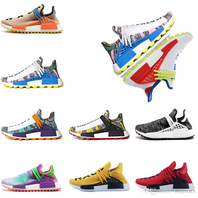 2fefc0090 Human Race Creme X NERD Solar Pack Running Shoes Pharrell Williams Hu Trail  Cream Core Equality Trainers Mens Women Sports Sneaker Eur 36 47 Men Running  ...