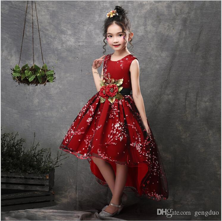 03b67dca521 2019 New Brand Flower Girls Dress Kids Princess Party Wedding Gowns For  Children Graduation Ceremony Baby Kids Long Tail Formal Wear From Gengduo