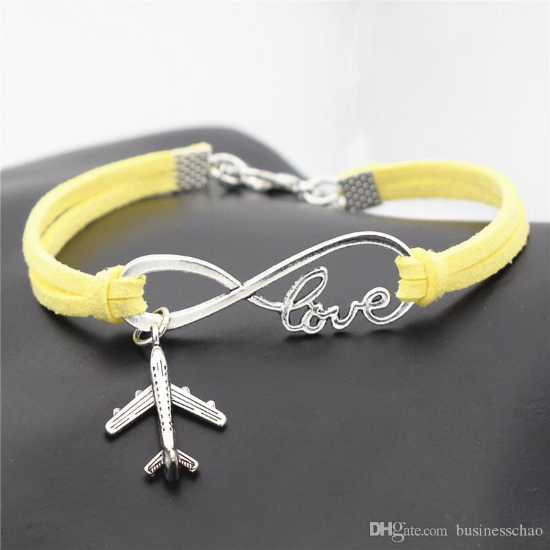 Silver Plated Infinity Love Airplane Aircraft Pendant Charm Bracelets Fits Brand Yellow Leather Suede Rope Bangles For Women Men DIY Jewelry