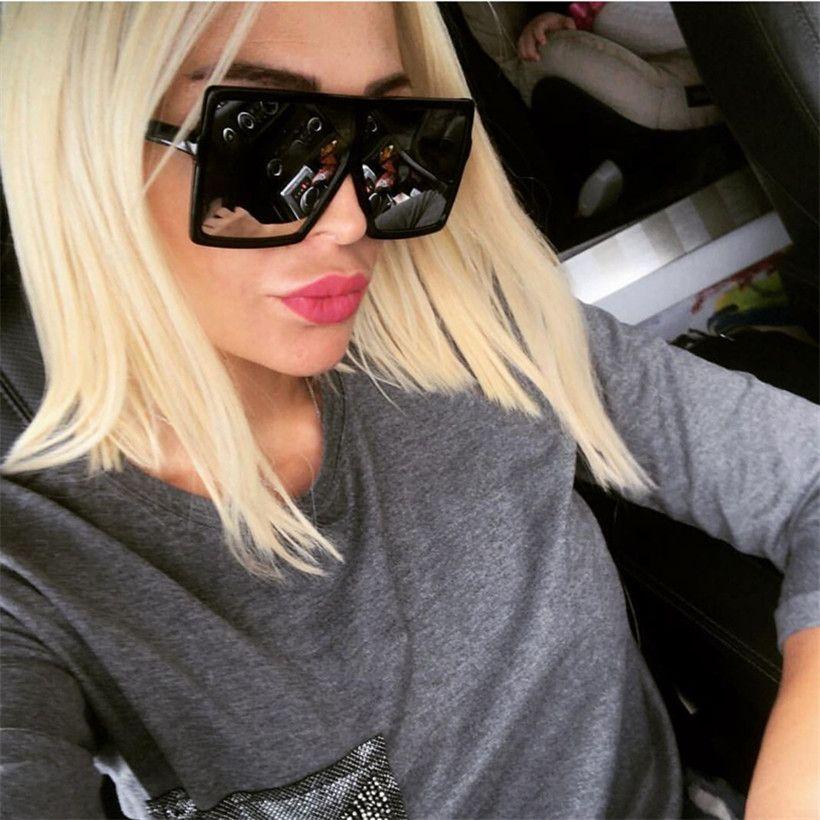 53b857303 المتضخم ساحة نظارات المرأة خمر العلامة التجارية مصمم التدرج عدسة ظلال نظارات  شمس رجل كبير أسود إطار نظارات