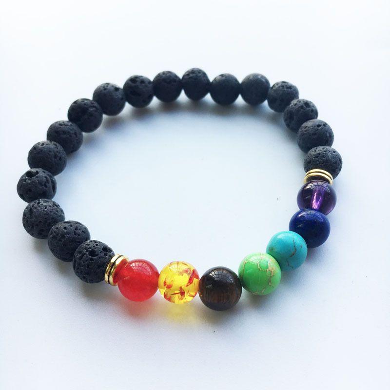 Pierre de volcan noir pierre volcanique 7 Chakra Bracelet, Bracelet de yoga en pierre naturelle, Bracelet de perles de Bouddha de perles de guérison Reiki de guérison