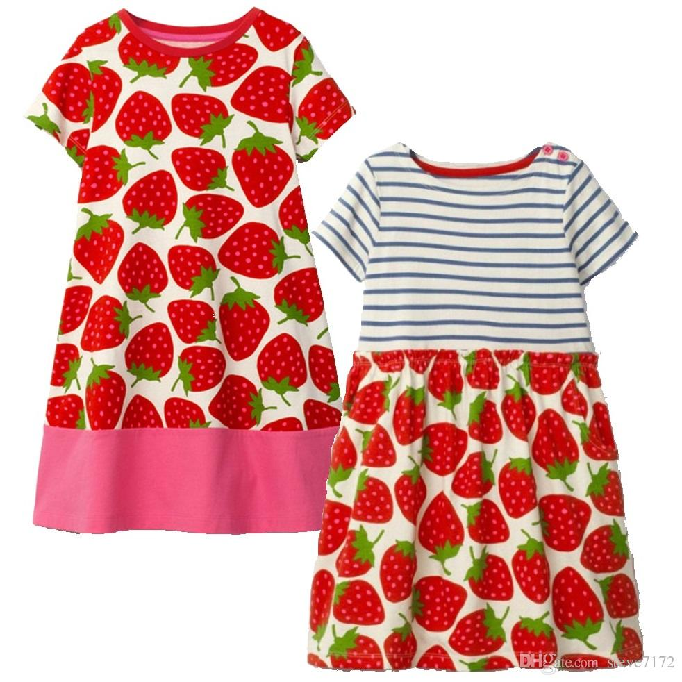 c0845ca54 Strawberry Baby Girls Dresses Children Clothes Blouses Girl's Jumpers Outfit  Short Sleeve Clothing For Girl One-Piece Dress 2-6Y
