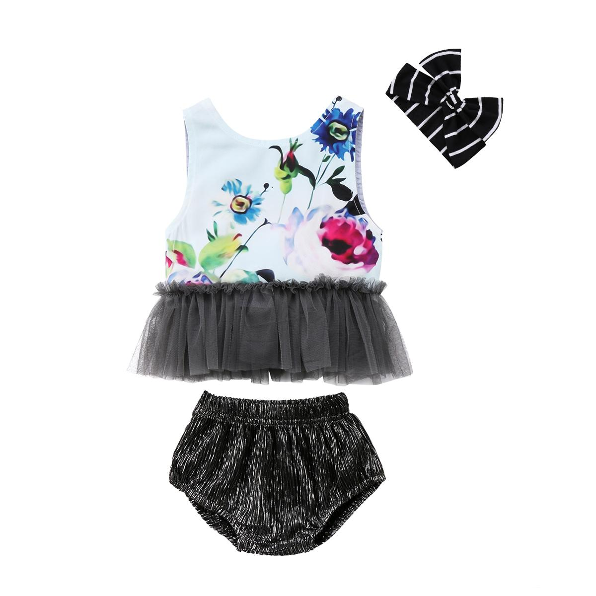 a300987372d 2019 2018 Kids Baby Girl Outfit Sets Sleeveless Floral Shirt Patchwork T  Shirt Tops+Shorts Pant+Headband Cute Summer Set Clothes From Buycenter