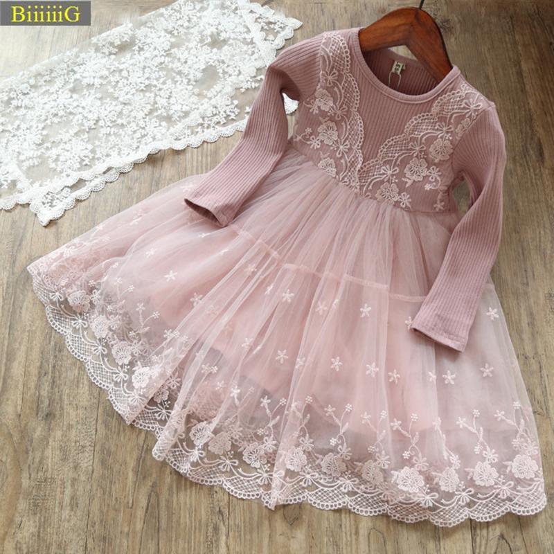 2018 Bonito Da Menina de Tricô Moda Bordado Vestido Crianças Festa de Princesa Vestidos de Renda Bonito Roupas de Presente de Aniversário Primavera Outono 2-8a