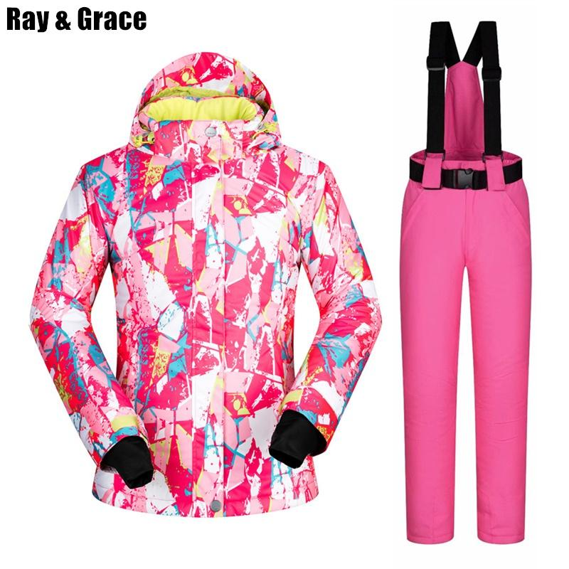 RAY GRACE Ski Suit Women Waterproof Windproof Jacket And Pants ... 5fa1a503e