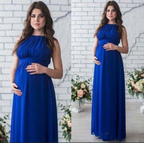 Rahat Kolsuz Kapalı Omuz Annelik Fotoğrafçılık Sahne Yüksek Bel Pilili Etek Bandaj Maxi Gevşek Annelik Gebelik Elbise