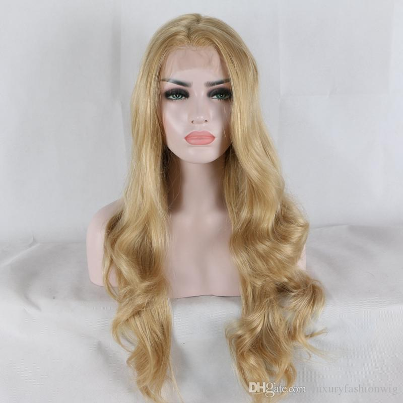 Lace Front Wigs mixed blonde color silky straight synthetic lace front wigs free parting natural look heat resistant fiber hair for woman