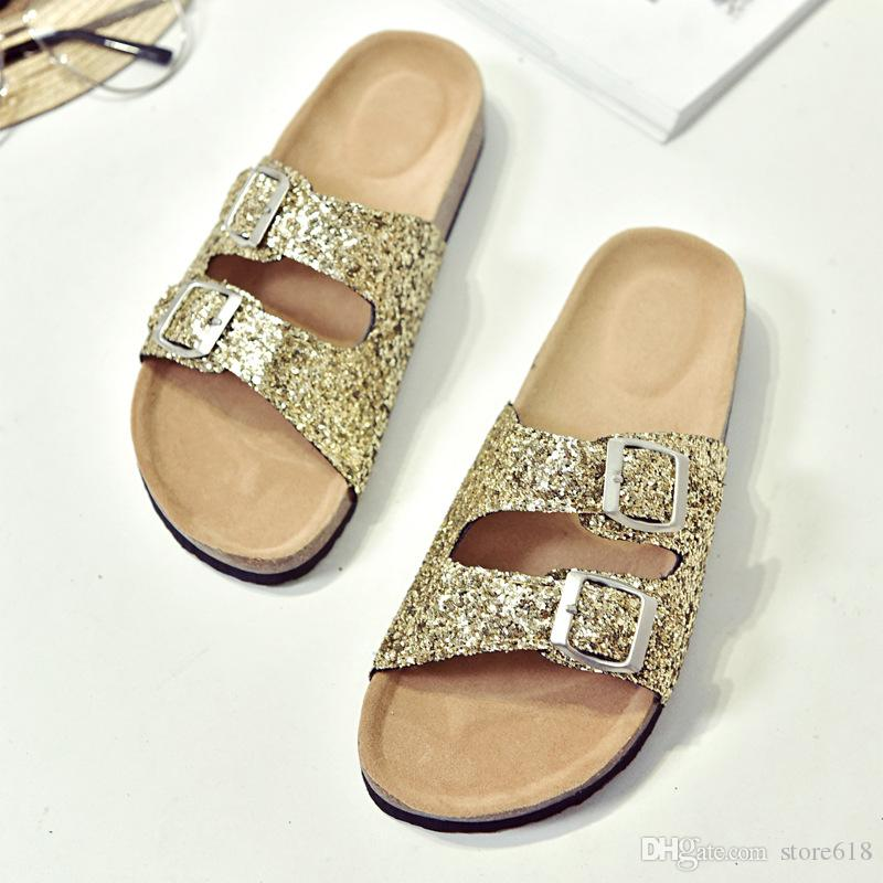 Wholesale Summer women luxury beach cork Slippers Casual Sandals Sequins Slides Double Buckle Clogs Women Slip on Flip Flops Flats Shoe