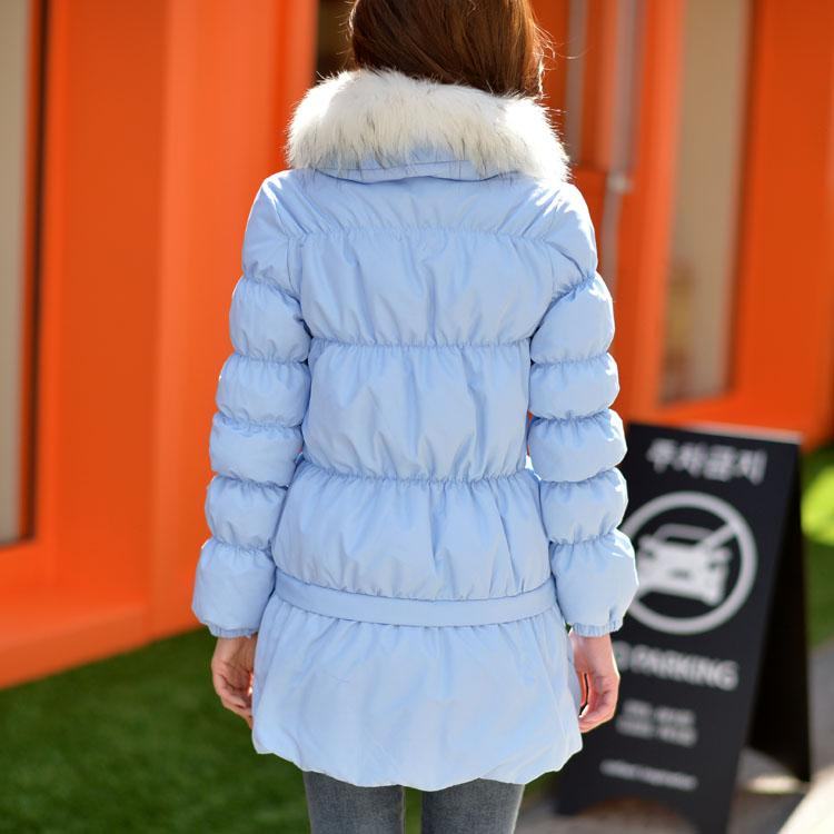Dabuwawa Blue Warm Coat Casual Womens Down Jackets With Belt Brands Thick Cotton Outerwear Parkas