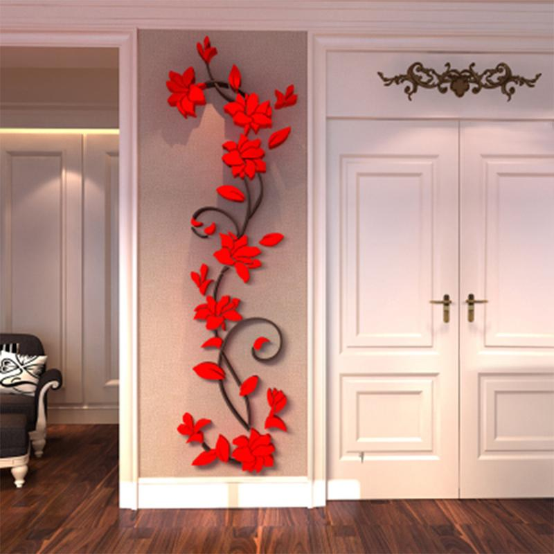 3d rose flower wall sticker removable acrylic home decor decal