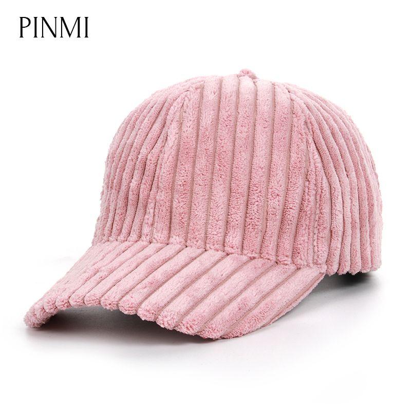 PINMI Cute Baseball Cap Women Solid Color Snapback Caps Female Winter Pink  High Quality Adjustable Plush Hats Cap Custom Trucker Hats Compton Cap From  ... dd20935ff4f