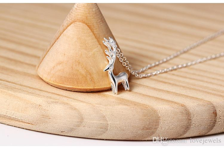 Charms 925 sterling silver pendant necklace Lovable reindeer Pendant European deer elk chain Fashion sets jewelry valentines day gift women