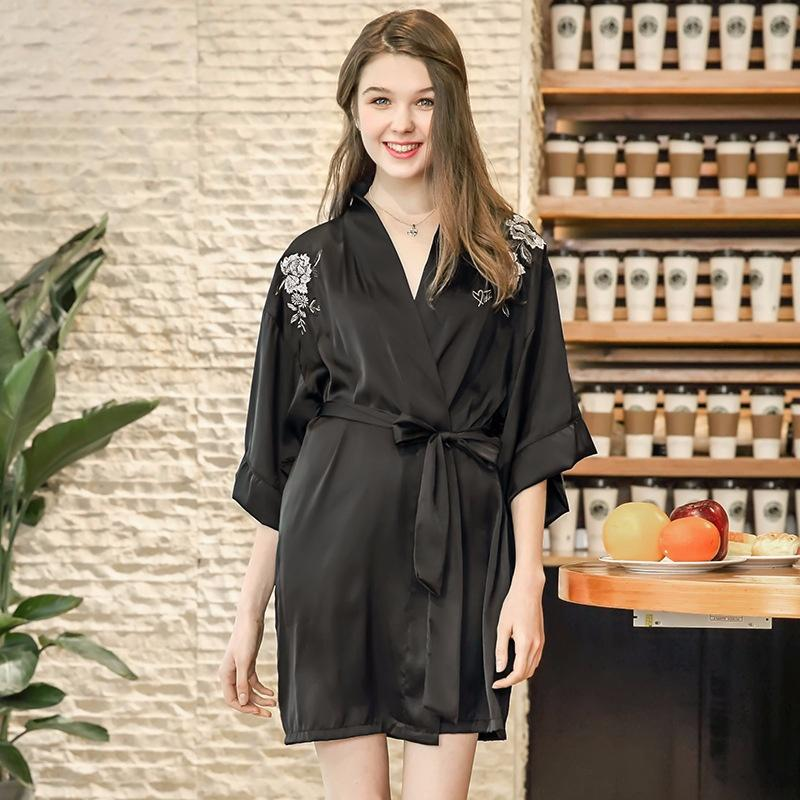 Spinning Silk Pajamas Bathrobes Women s Summer Silk Single Nightgown ... a078f4f60