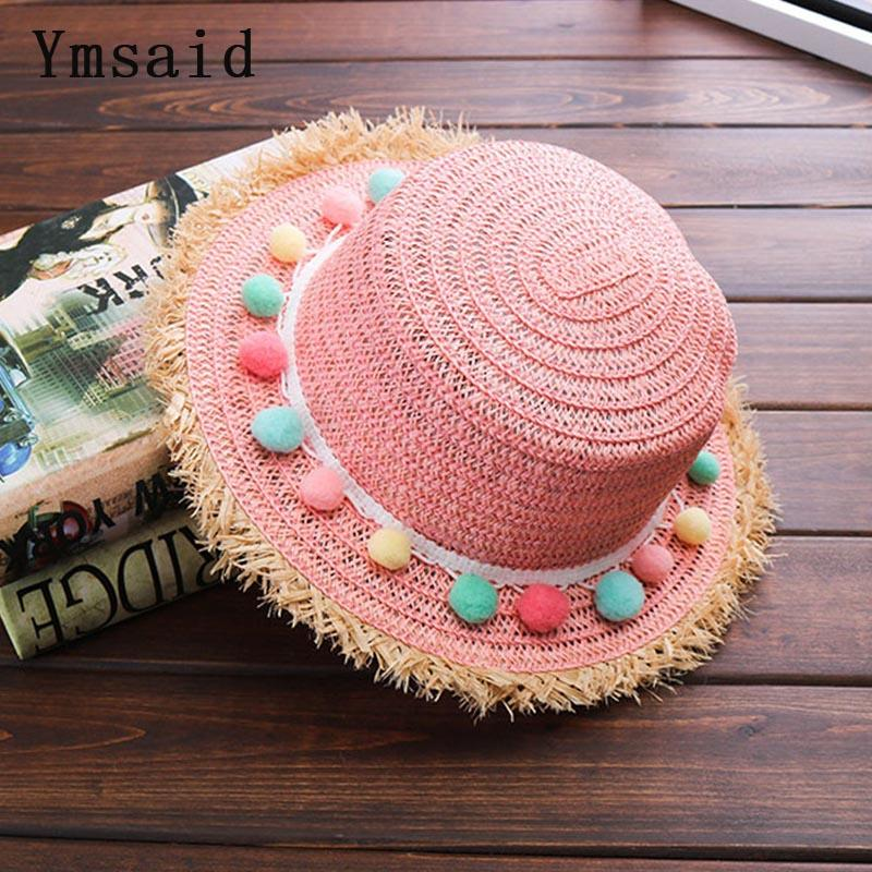 e0d02a27e23 2018 Child Sun Hats Summer Color Ball Bowknot Style Child Sun Hat Girl  Floppy Wide Brim Beach Cap Flower Straw Hats Kentucky Derby Hat Cheap Hats  From ...