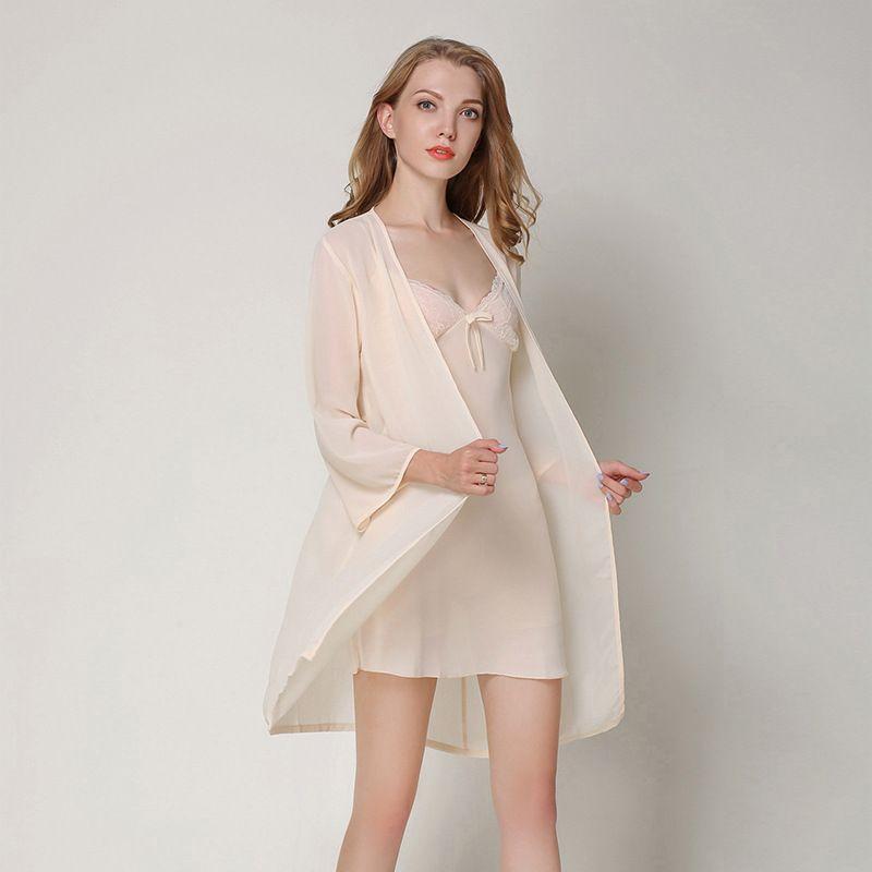 2024efe6c 2019 Sexy See Through Lingerie Nightdress Women Silk Pajamas Set Satin Robe  Female Night Dress Skirt Nightgown Sleepwear From Piaocloth