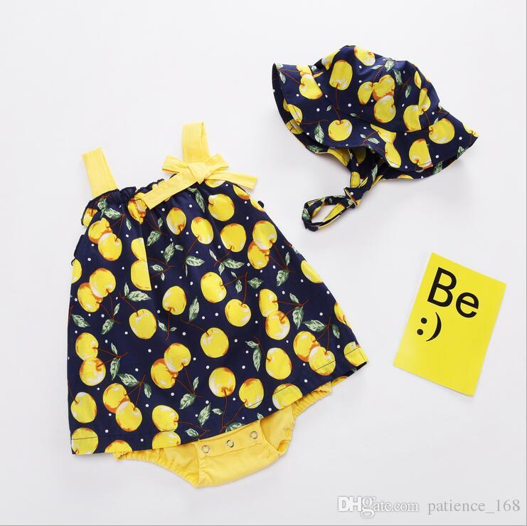 summer sets 2018 NEW arrival INS summer Girls Kids cherry printing bowknot romper + cute hat high quality cotton