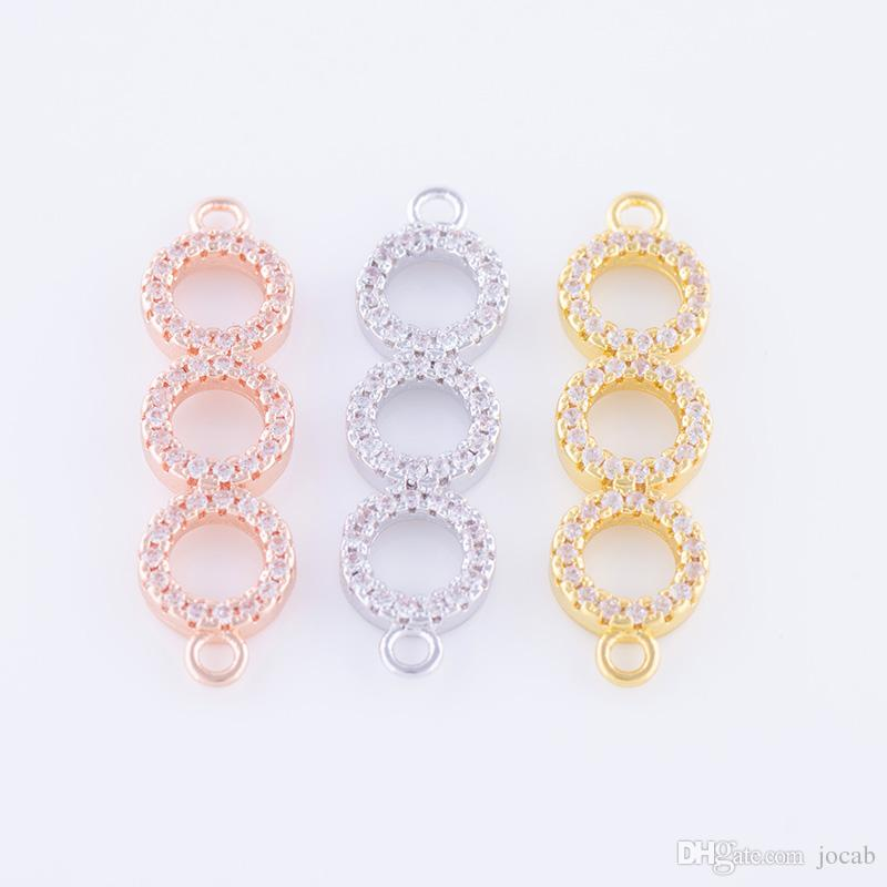 Wholesale DIY Handmade Jewelry Findings Components Micro Pave Zircon 3 Round Connect Charms Crystal Circle Bracelet Necklace Connector Fits