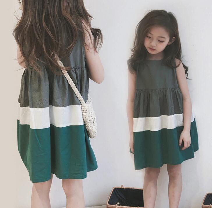 ff0707f20d09 Fashion Girls Dress Multicolor Summer New Sleeveless Korean Dress Kids Wear  Baby Skirt Skirt Cotton Child Clothing Wholesale Girls Dresses Kids Dress  ...