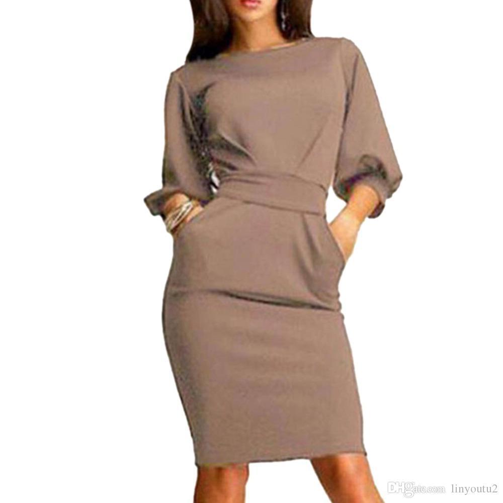365c19184c2c4 Hot 2018 Summer Work Office Dress Half Sleeve O-Neck Elegant Ladies Bodycon  Bandage Slim Party Dresses Vestidos Plus Size